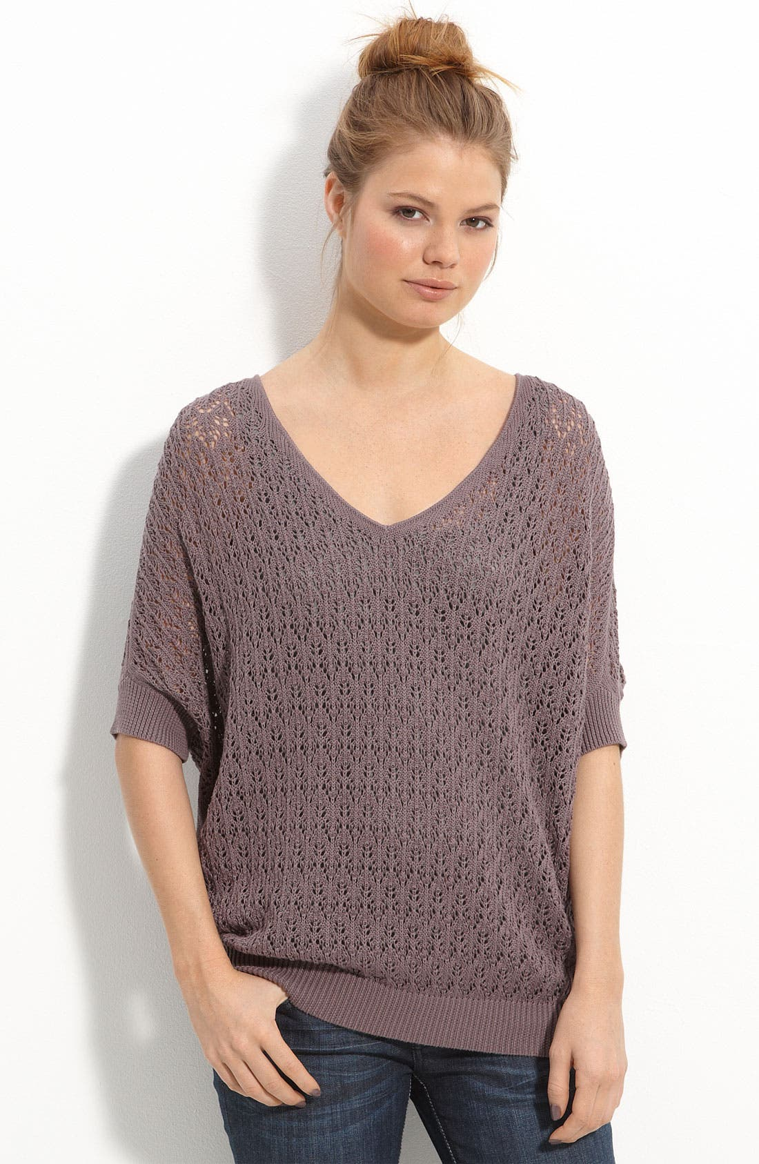 Alternate Image 1 Selected - Frenchi® Pointelle Dolman Sleeve Sweater (Juniors)