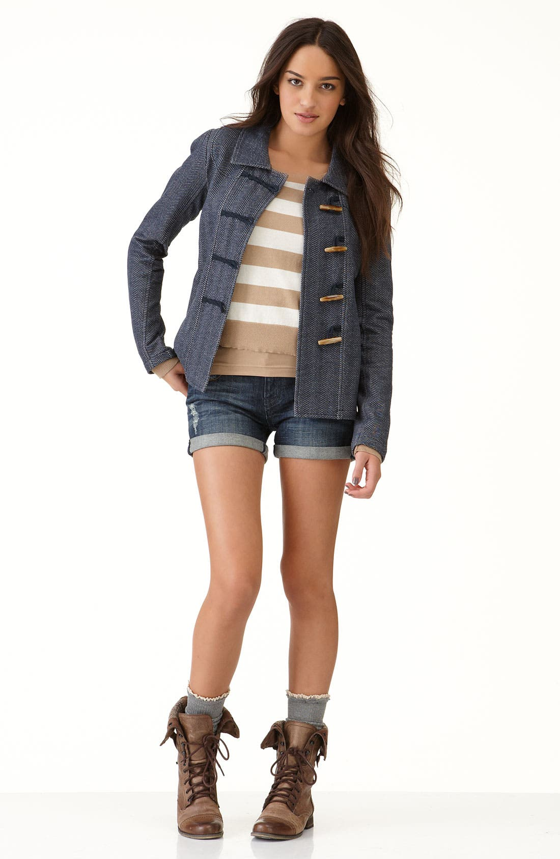 Alternate Image 2  - Rubbish® Fitted Knit Duffle Jacket (Juniors)