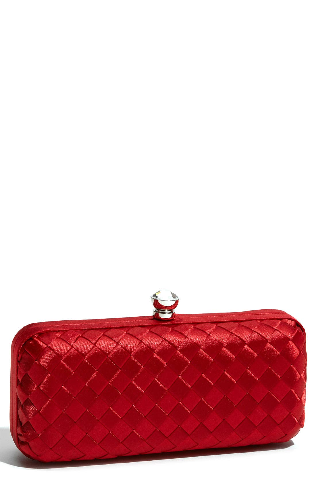 Main Image - Expressions NYC Woven Satin Minaudiere Clutch