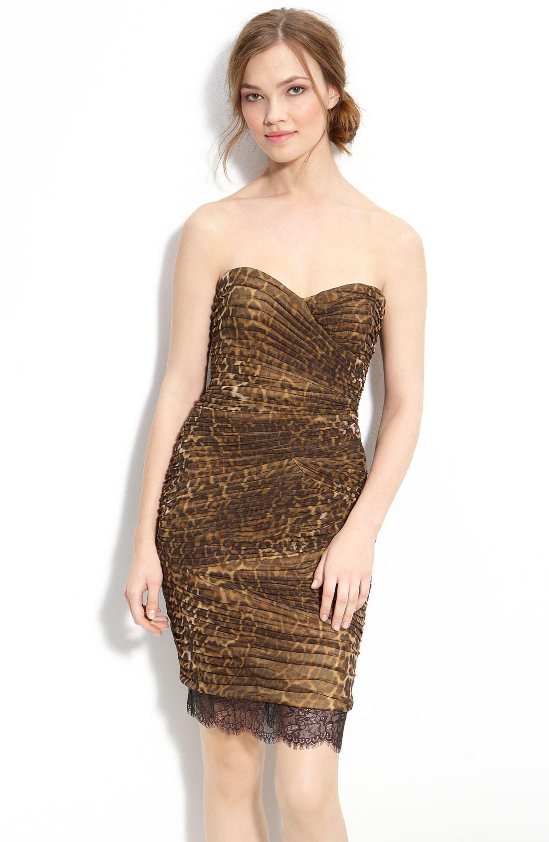 Main Image - BCBGMAXAZRIA Strapless Leopard Print Mesh Dress