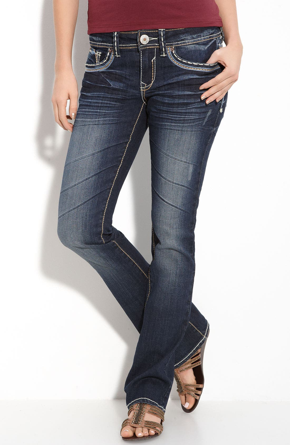 Alternate Image 2  - Trademark H Slim Bootcut Jeans (Blue Wash) (Juniors)