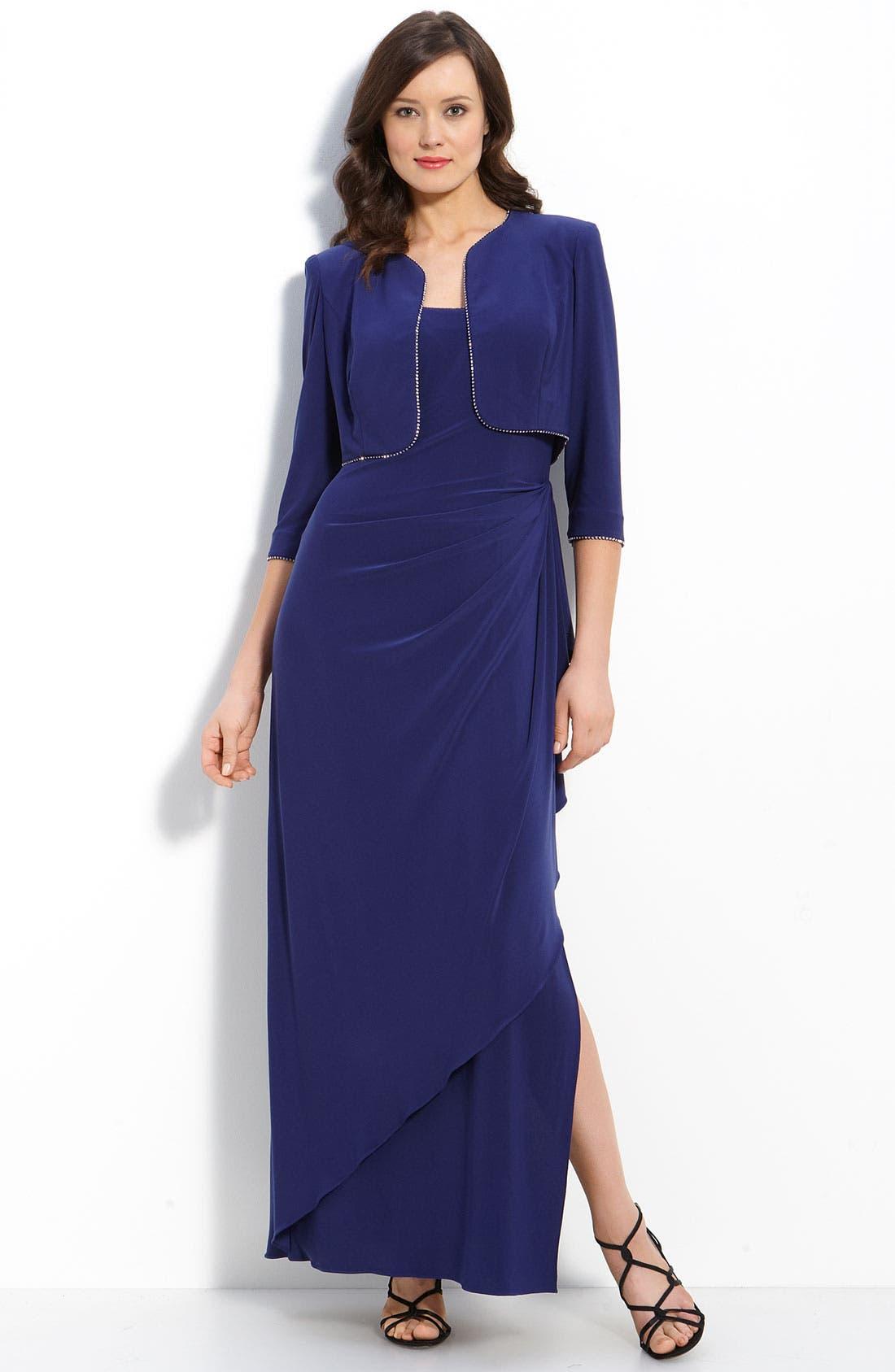Main Image - Alex Evenings Rhinestone Trim Jersey Dress & Bolero