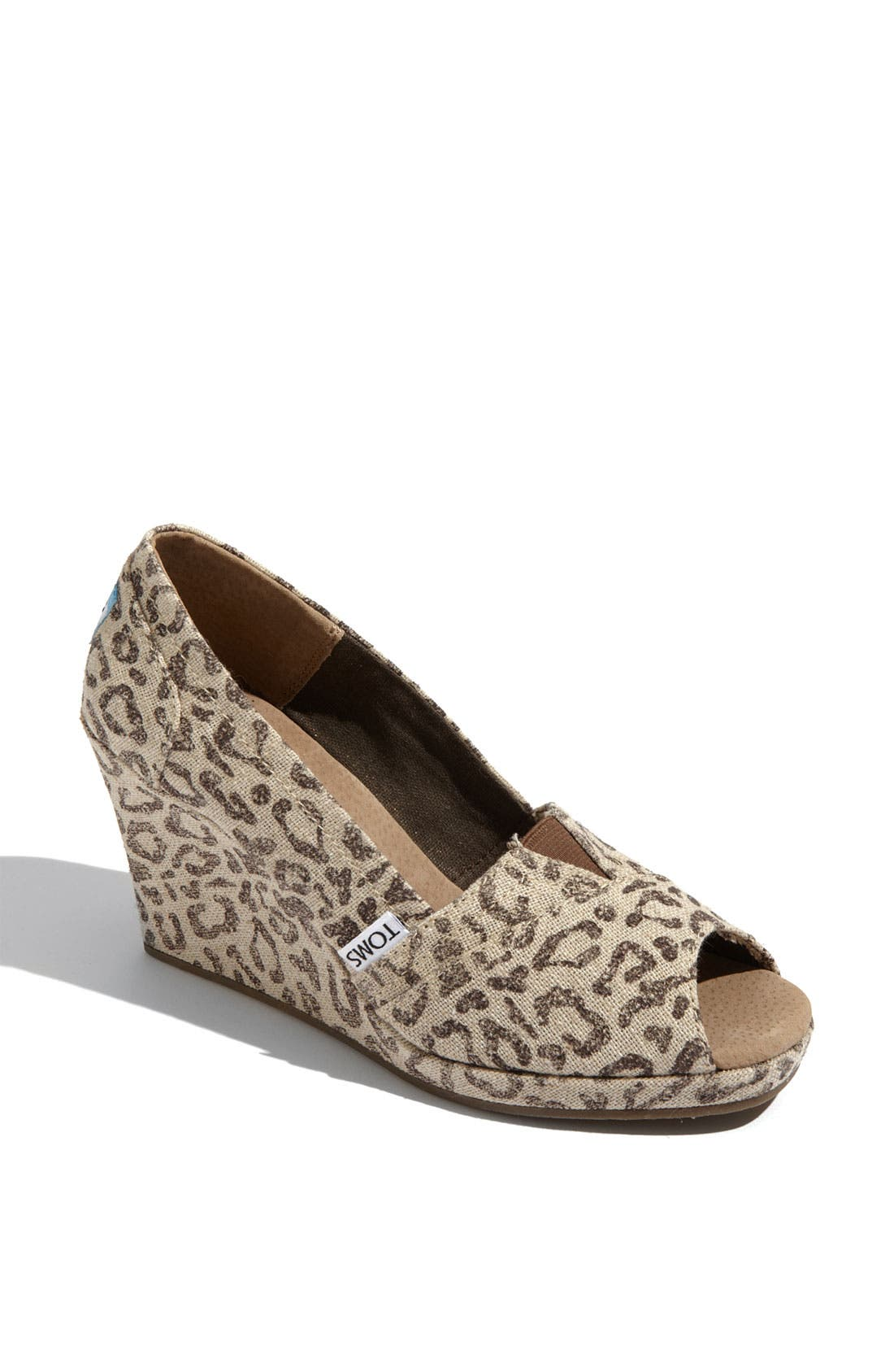 Main Image - TOMS 'Snow Leopard' Burlap Wedge