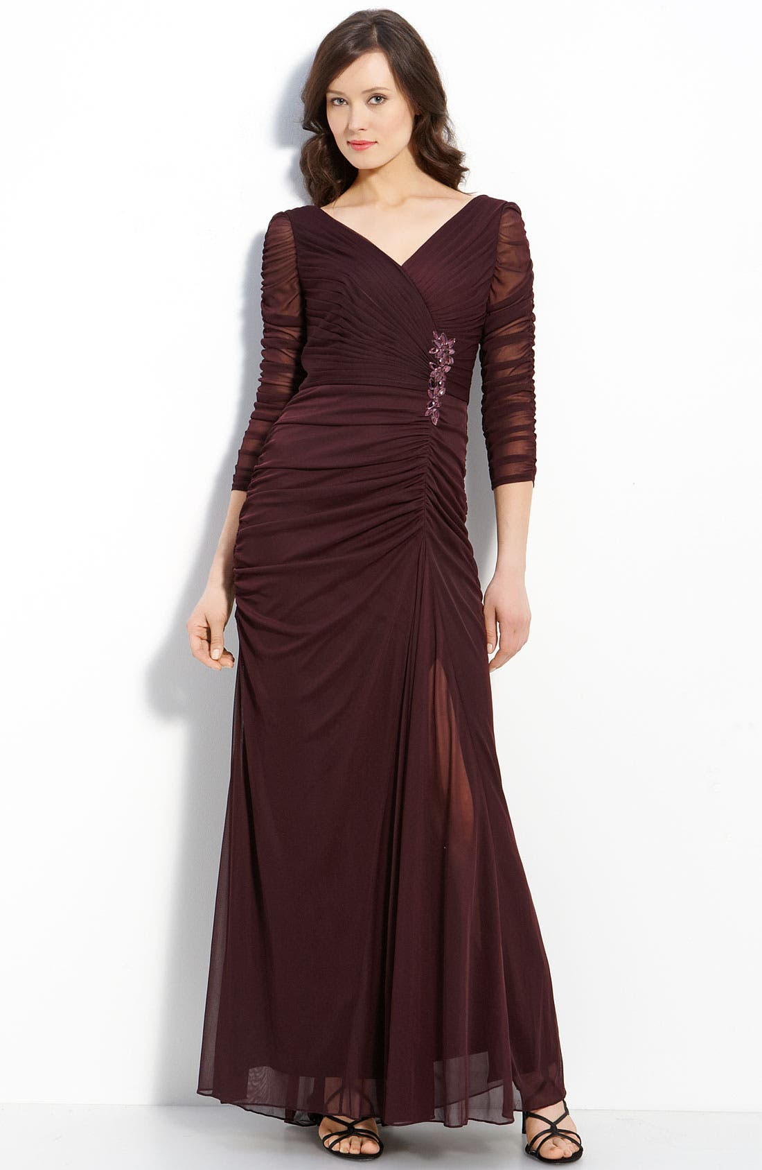 Main Image - Adrianna Papell Beaded Mesh Gown (Regular & Petite)