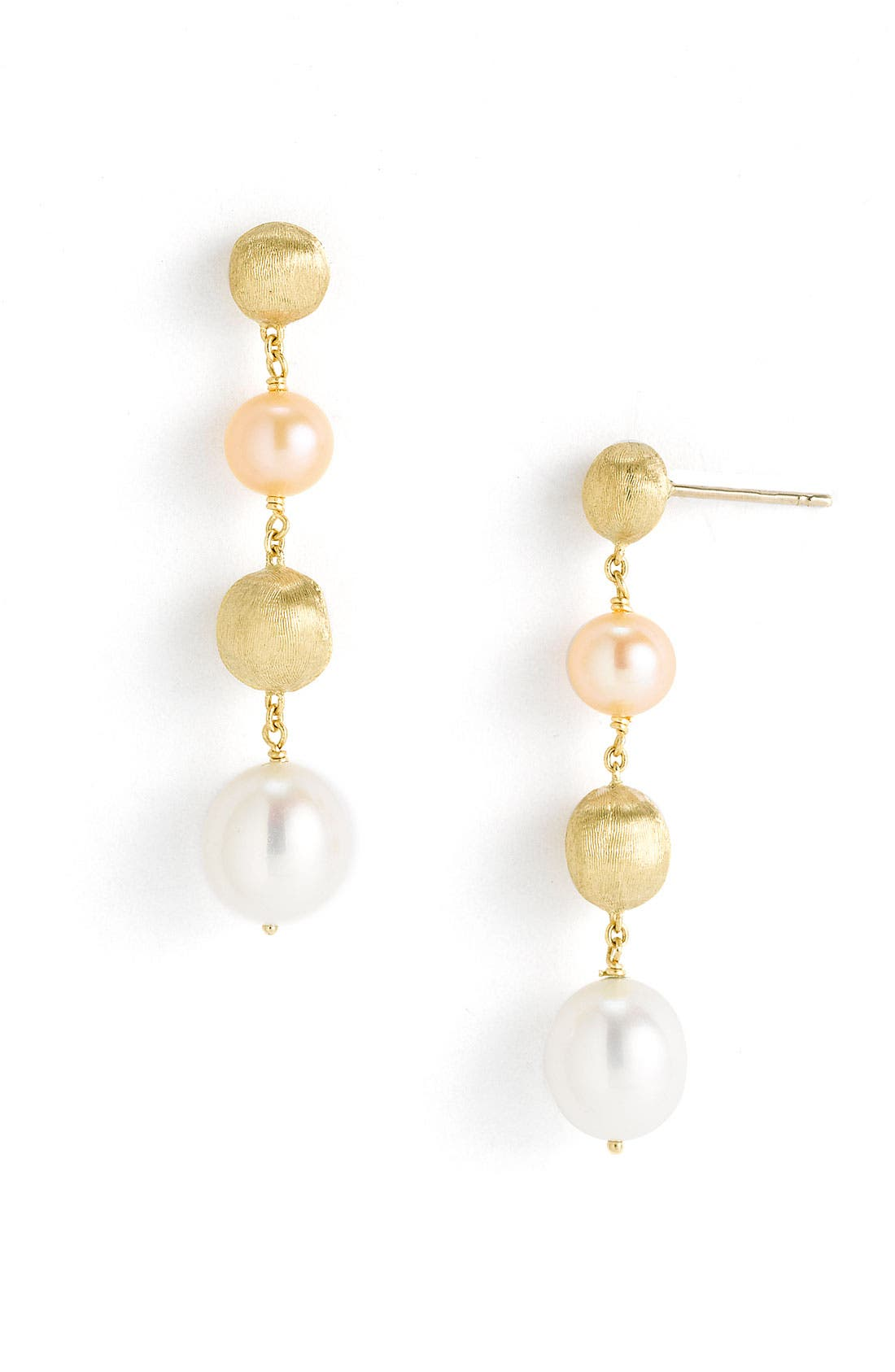 Alternate Image 1 Selected - Marco Bicego 'Africa Gold' Freshwater Pearl Linear Drop Earrings