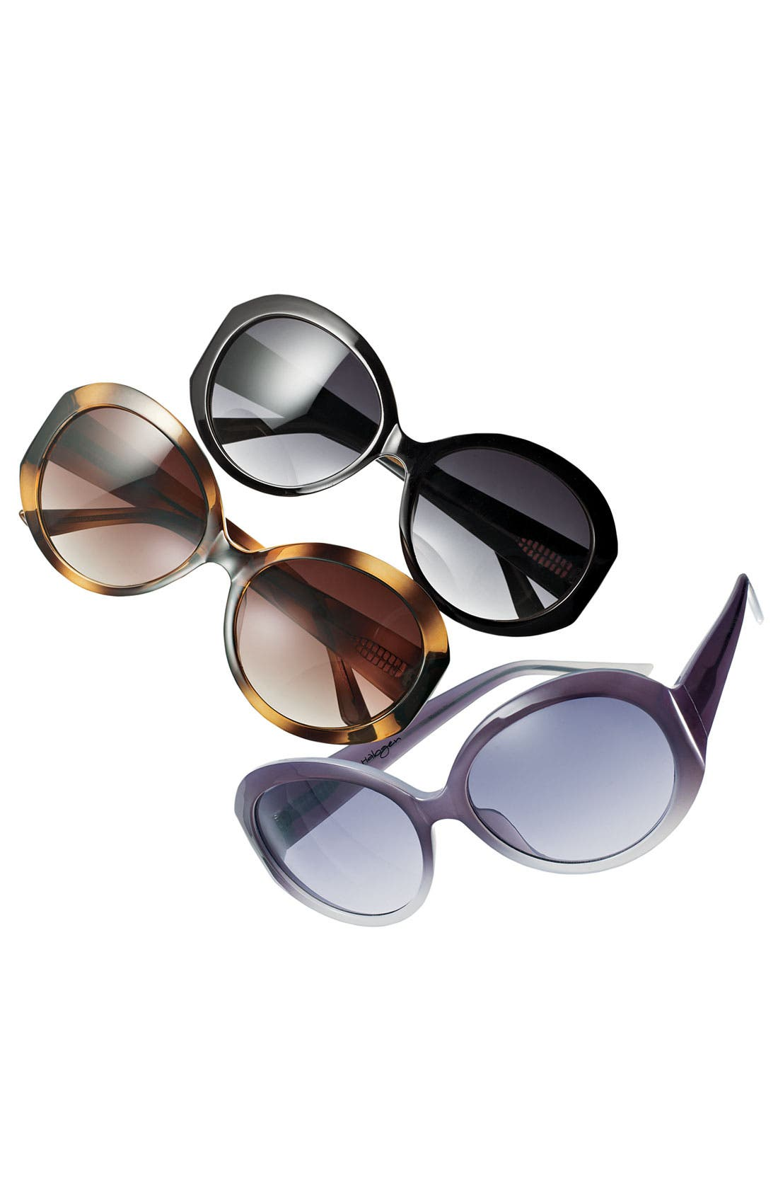 Alternate Image 2  - Halogen® 'Large' Round Frame Sunglasses