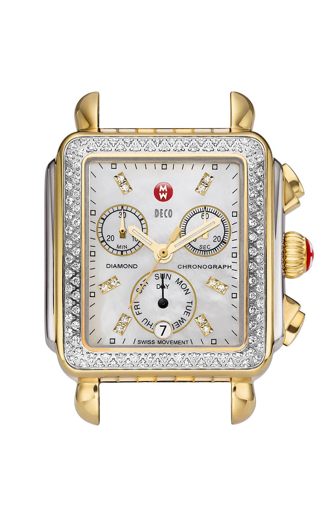 Main Image - MICHELE 'Deco Diamond' Two-Tone Watch Case & 18mm Patent Leather Strap
