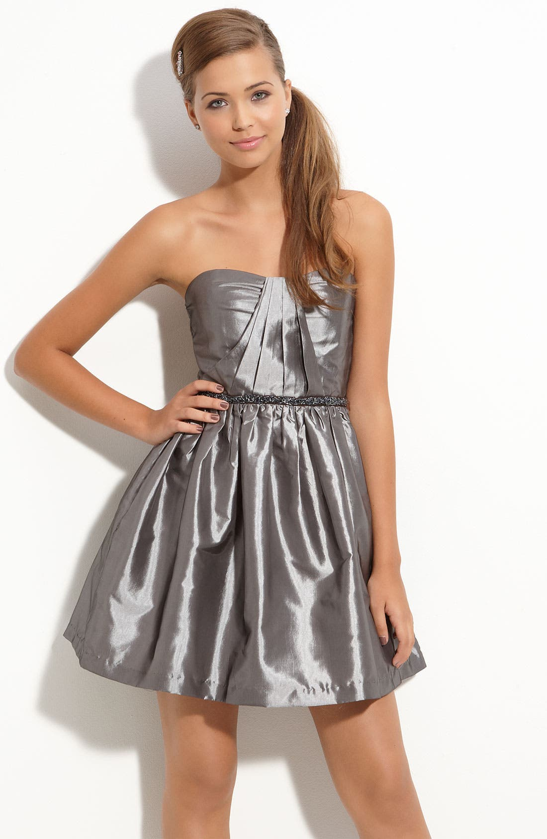 Alternate Image 1 Selected - Trixxi Beaded Waist Party Dress (Juniors)