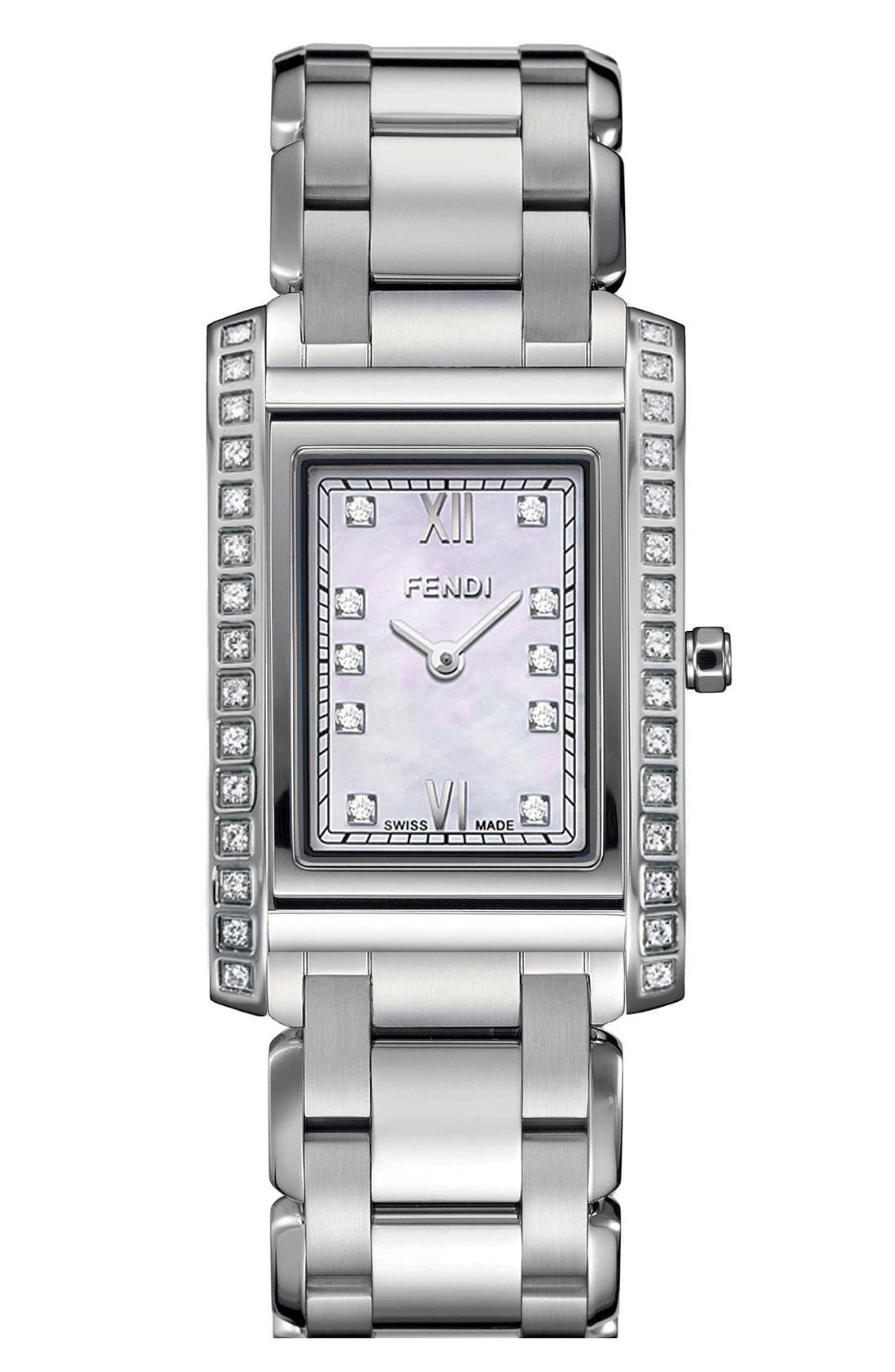Alternate Image 1 Selected - Fendi 'Loop - Small' Diamond Bracelet Watch, 21mm x 34mm