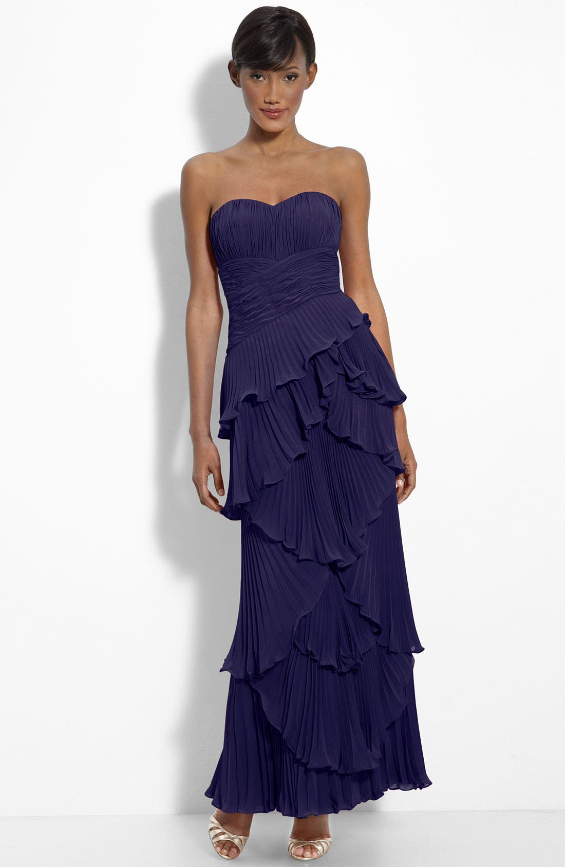 Alternate Image 1 Selected - Dalia MacPhee Tiered Pleat Chiffon Gown