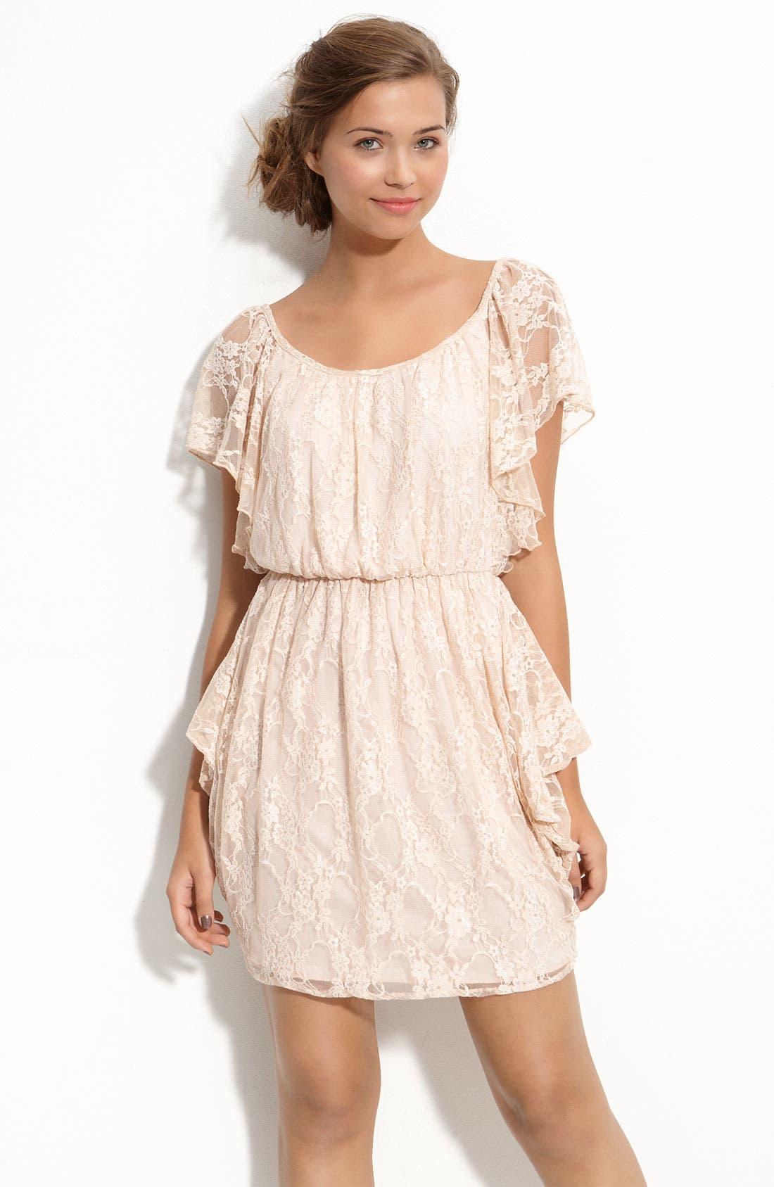 Alternate Image 1 Selected - Velvet Torch Draped Lace Dress (Juniors)