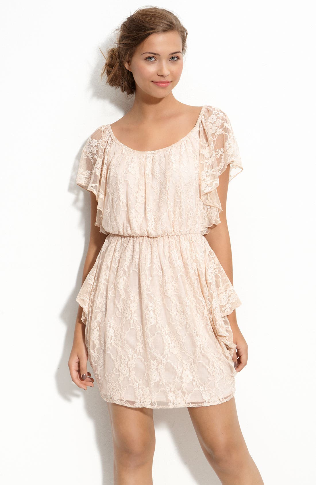 Main Image - Velvet Torch Draped Lace Dress (Juniors)
