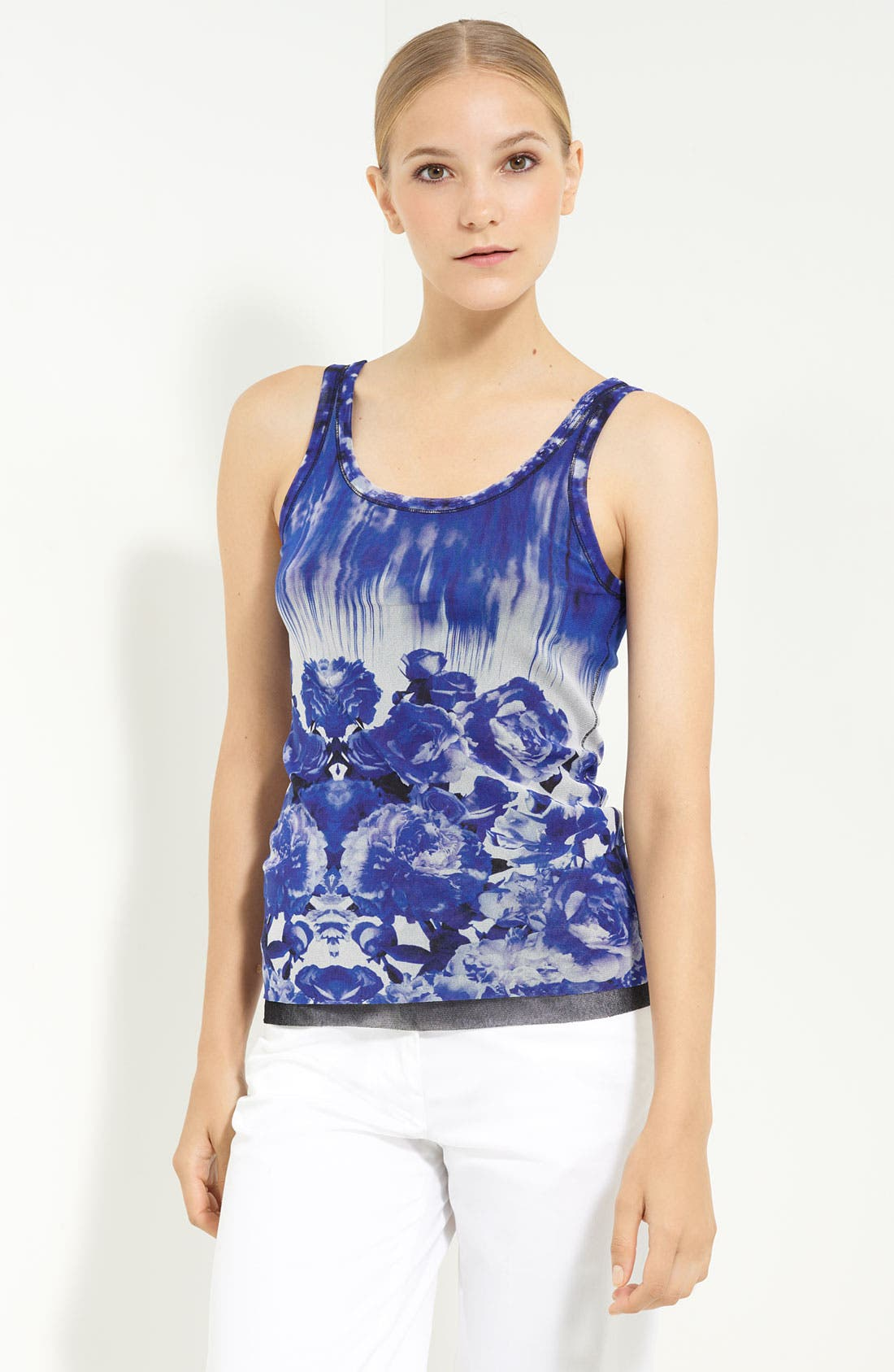 Alternate Image 1 Selected - Jean Paul Gaultier Fuzzi Rose Print Tulle Tank