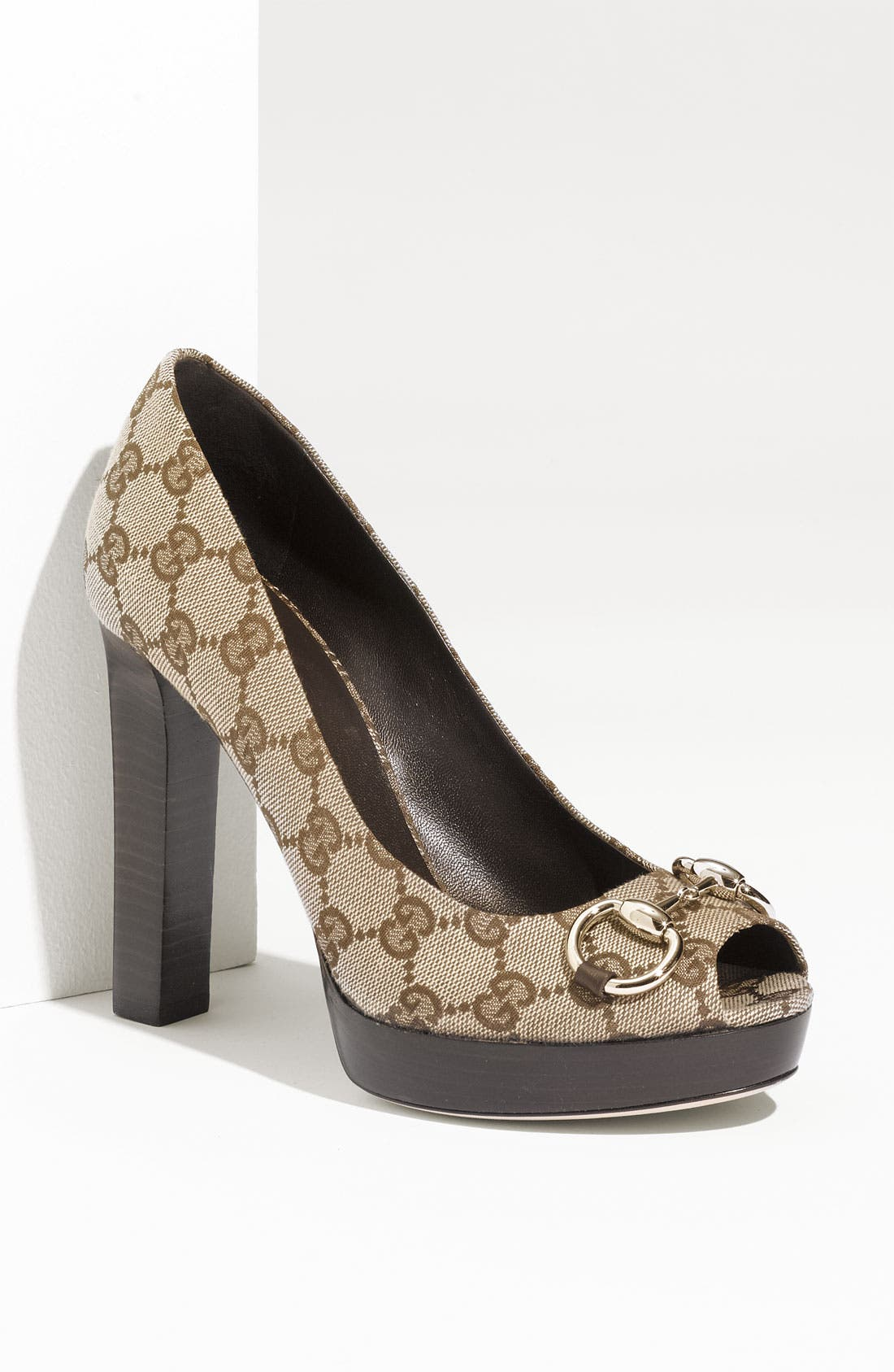 Alternate Image 1 Selected - Gucci 'Sunset' Peep Toe Platform Pump