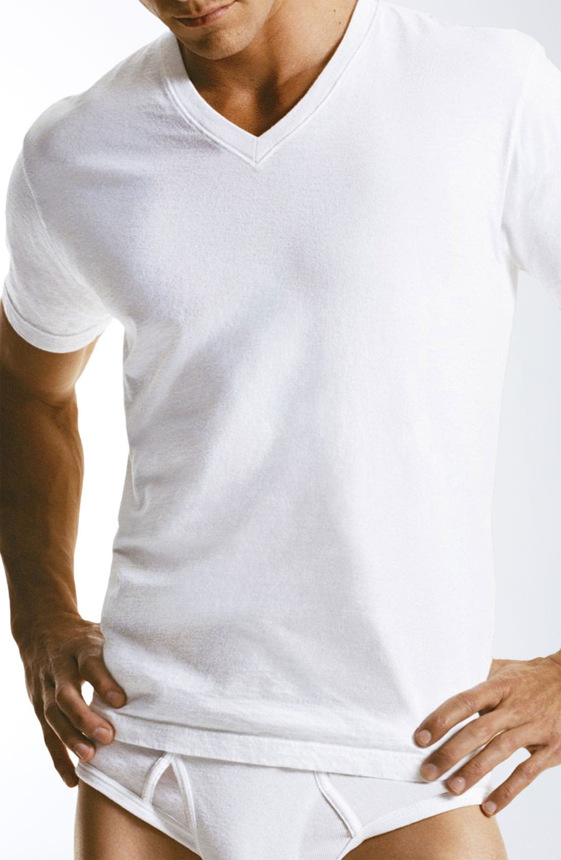 Alternate Image 1 Selected - Calvin Klein 'M9065' Cotton V-Neck T-Shirt (3-Pack)