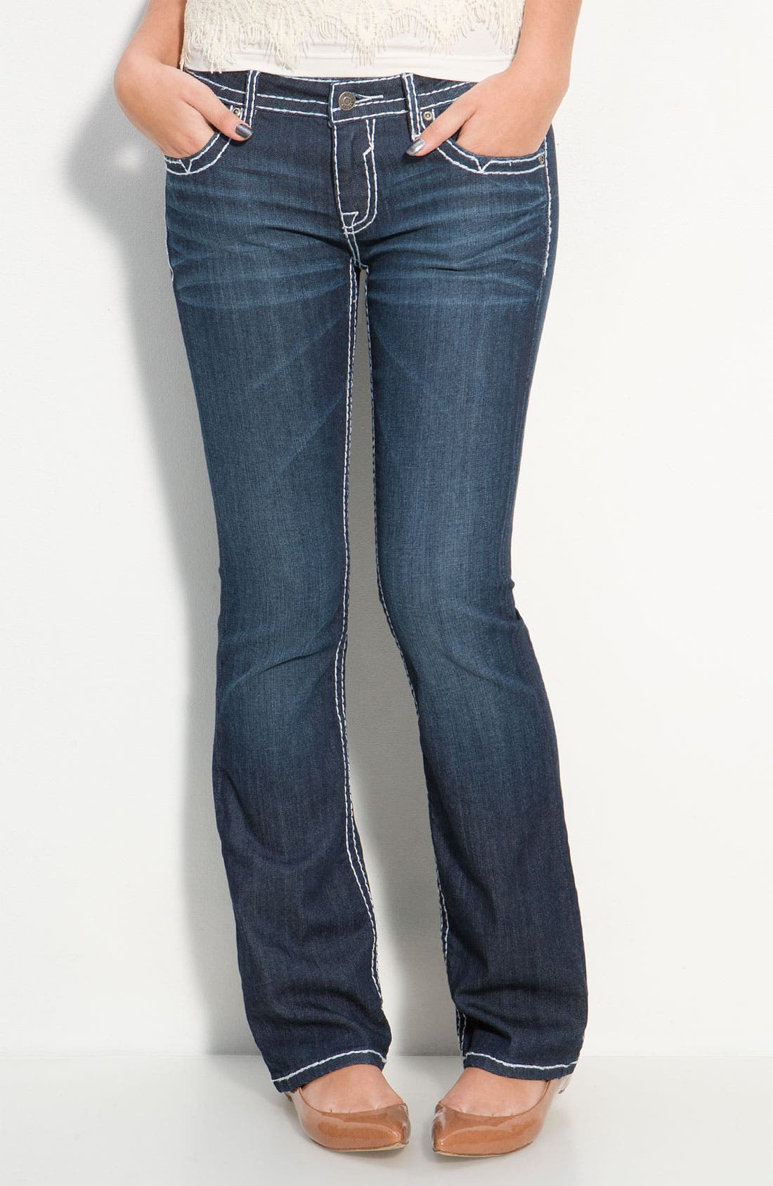Main Image - Vigoss Thick Stitch Bootcut Jeans  (Juniors)