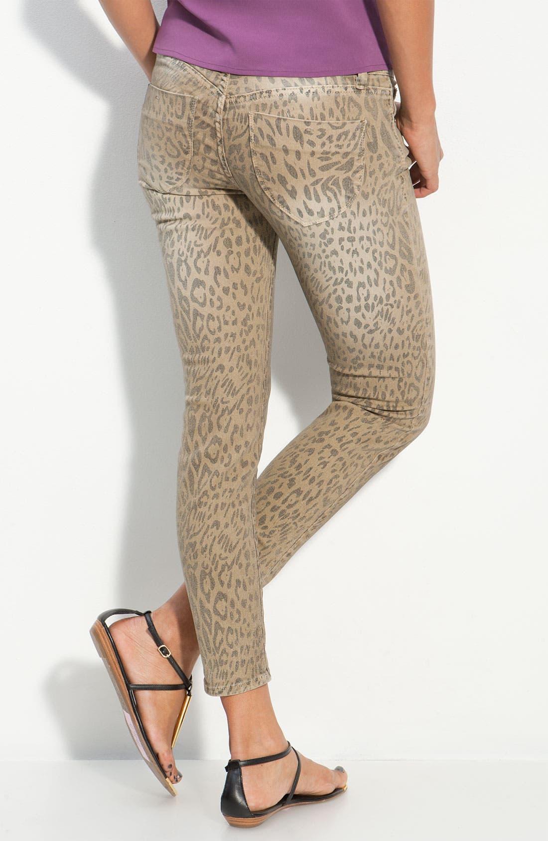 Main Image - S.O.N.G. Animal Print Skinny Jeans (Juniors)
