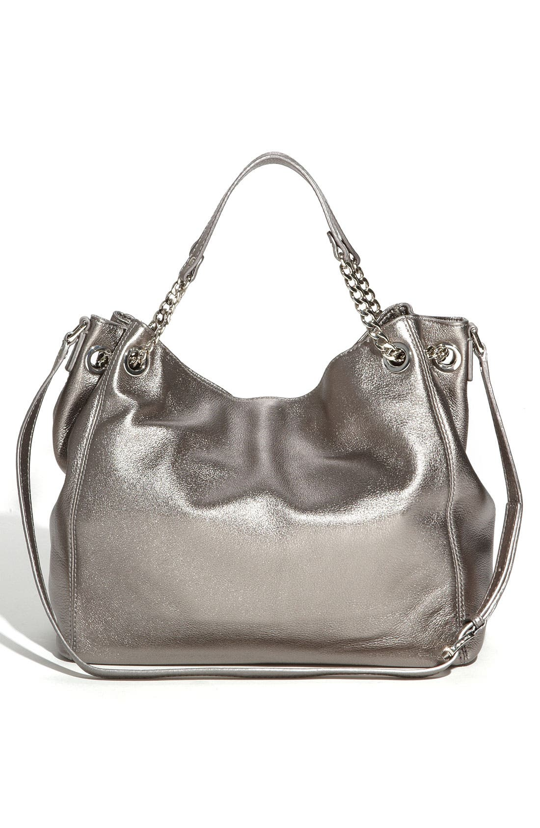 Alternate Image 4  - MICHAEL Michael Kors 'Jet Set - Large' Metallic Leather Shoulder Tote