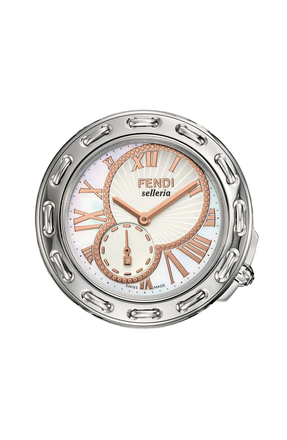 Alternate Image 1 Selected - Fendi 'Selleria' Round Watch Case, 37mm