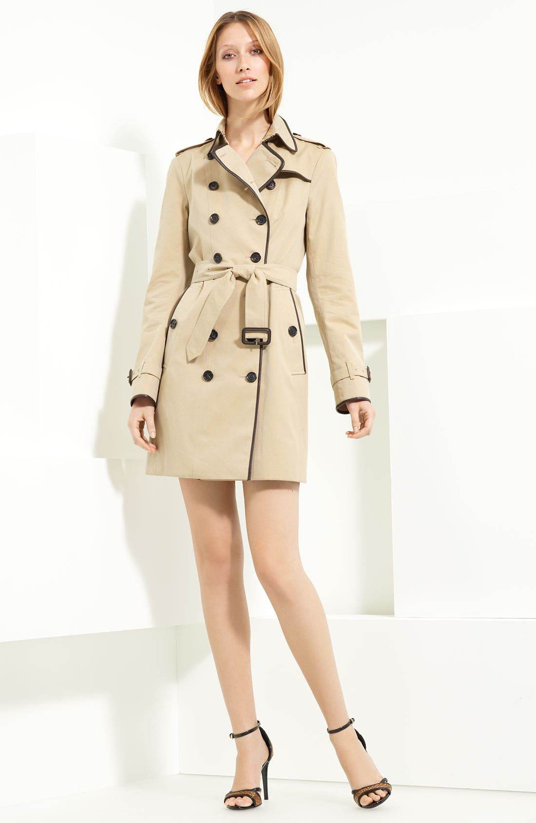 Main Image - Burberry London Leather Piped Belted Gabardine Trench