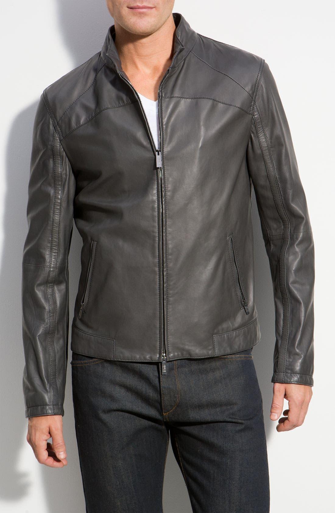 Alternate Image 1 Selected - Armani Collezioni Leather Jacket