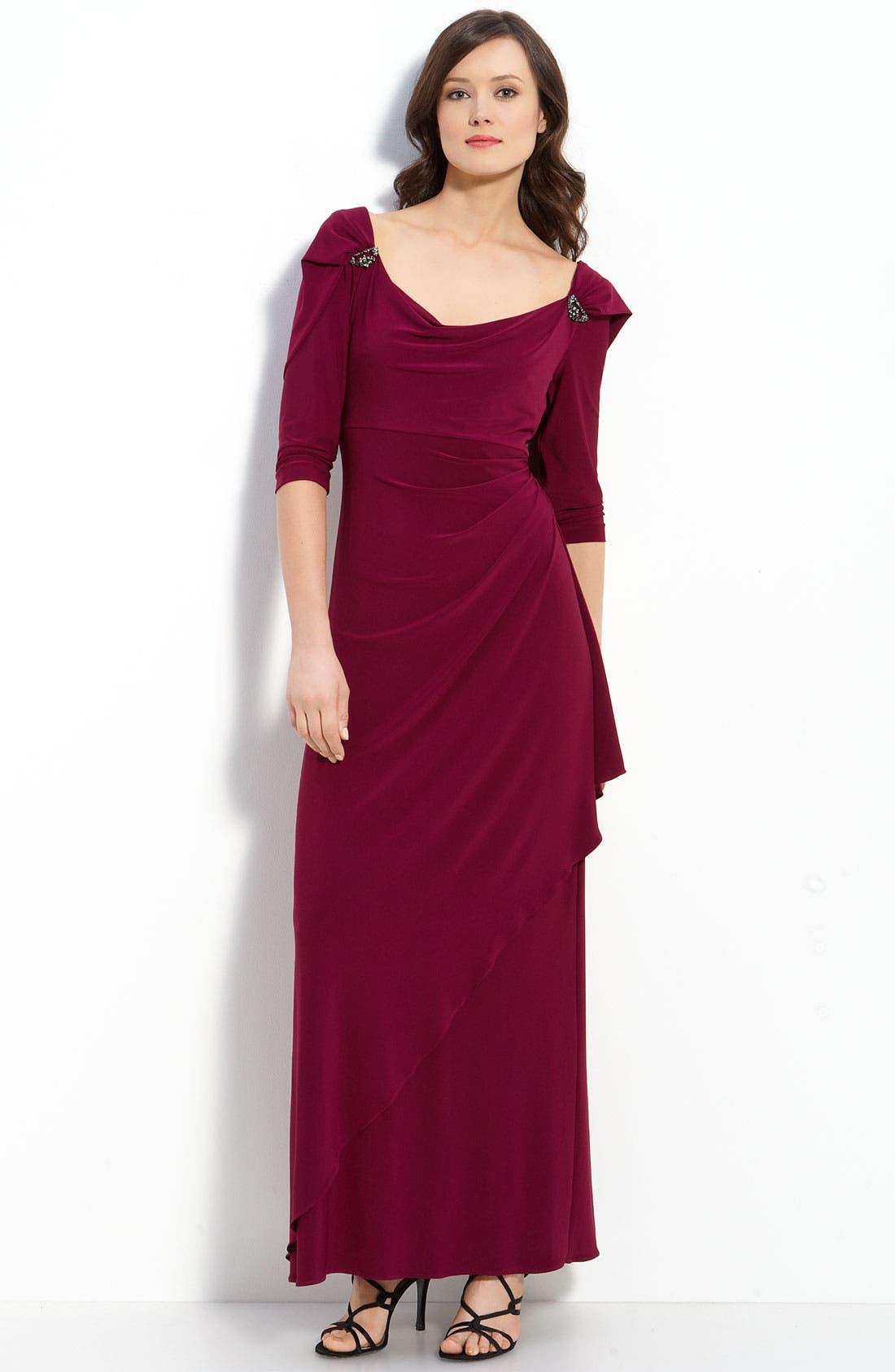 Main Image - Alex Evenings Drape Back Jersey Gown (Petite)