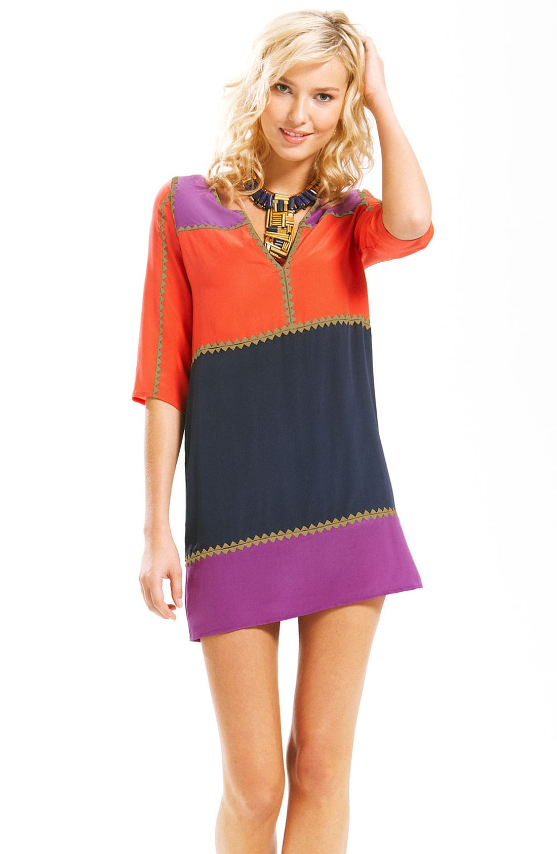 Alternate Image 1 Selected - BCBGMAXAZRIA 'Aidas' Colorblock Minidress