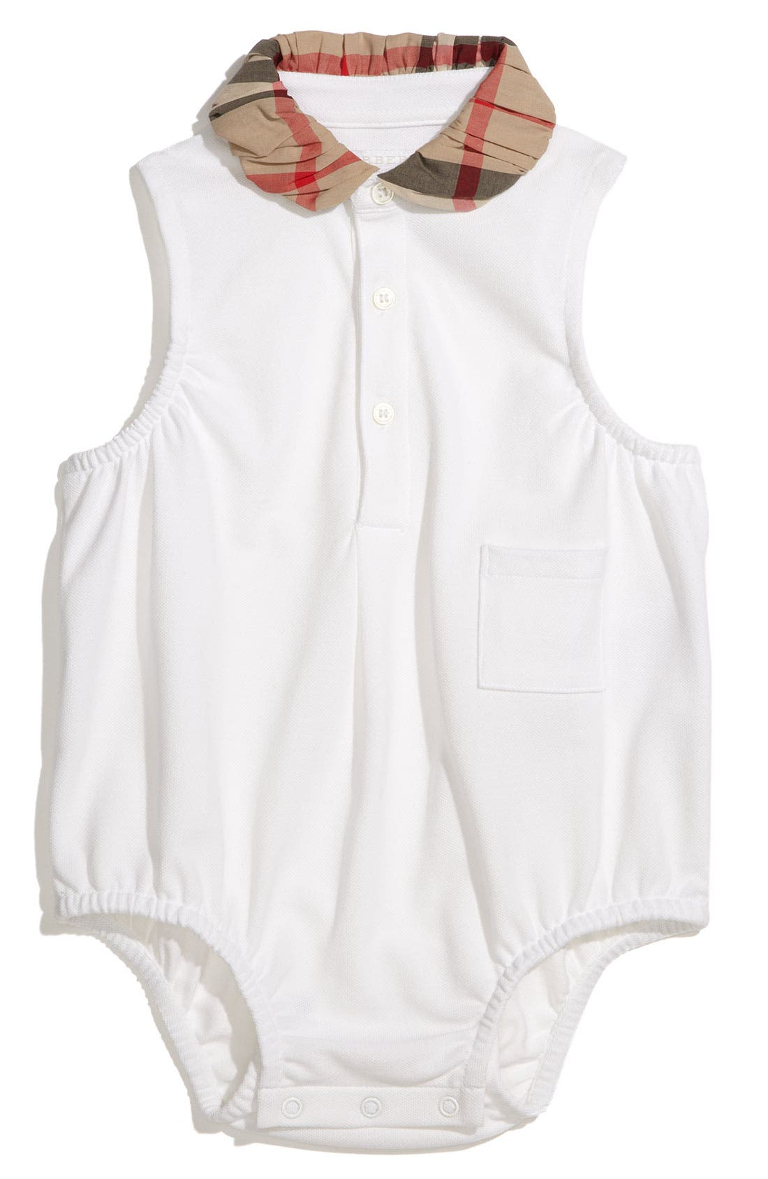 Main Image - Burberry Check Print Bodysuit (Infant)