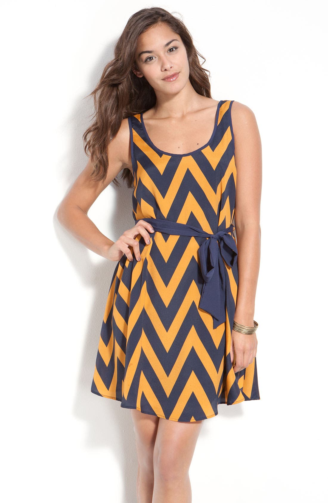 Alternate Image 1 Selected - Lush Zigzag Tank Dress (Juniors)