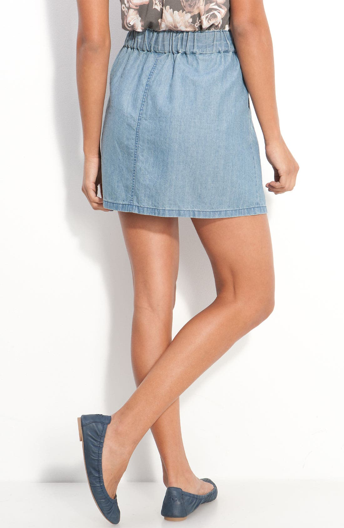 Alternate Image 2  - Frenchi® Button Front Chambray Skirt (Juniors)