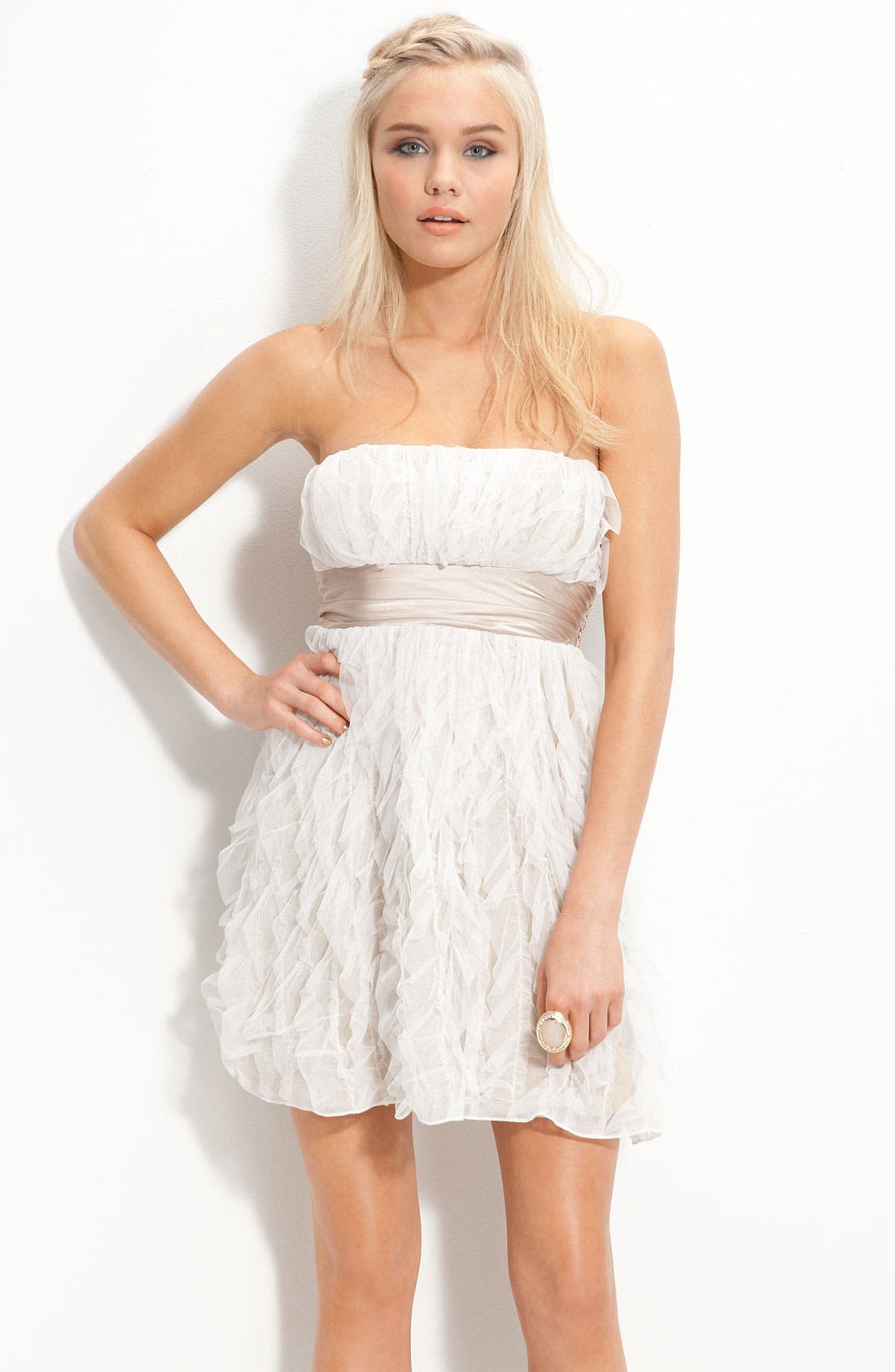 Alternate Image 1 Selected - Jump Apparel Satin Sash Strapless Ruffle Dress (Juniors)