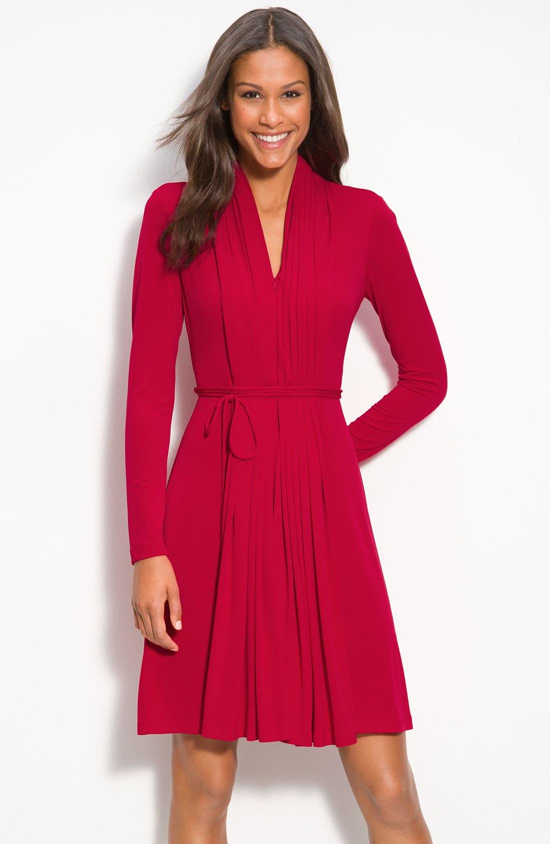 Alternate Image 1 Selected - Calvin Klein Pleat Front Jersey Dress
