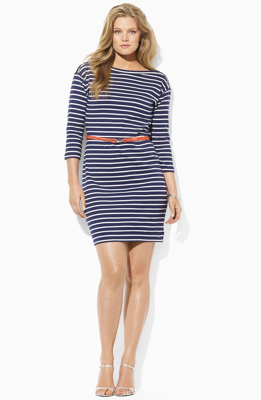 Alternate Image 1 Selected - Lauren Ralph Lauren Belted Stripe Knit Sheath Dress (Plus)