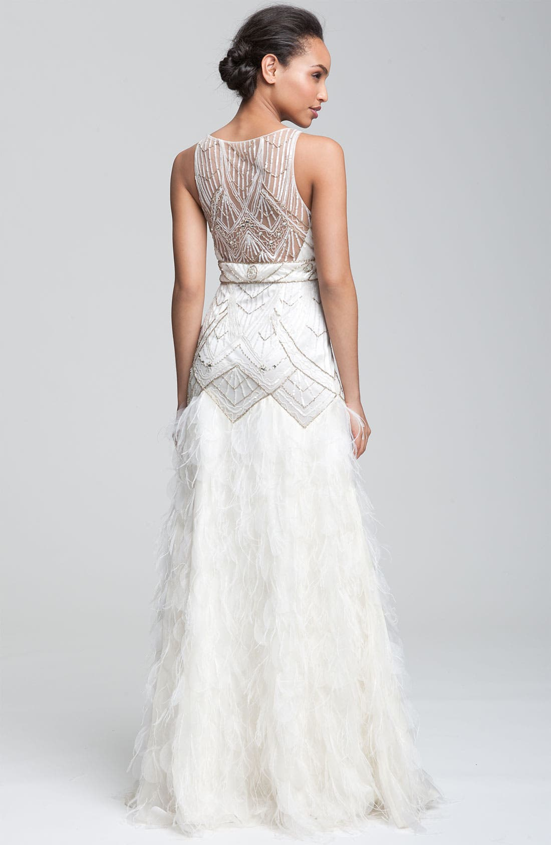 Alternate Image 2  - Sue Wong 'Feather' Beaded Gown