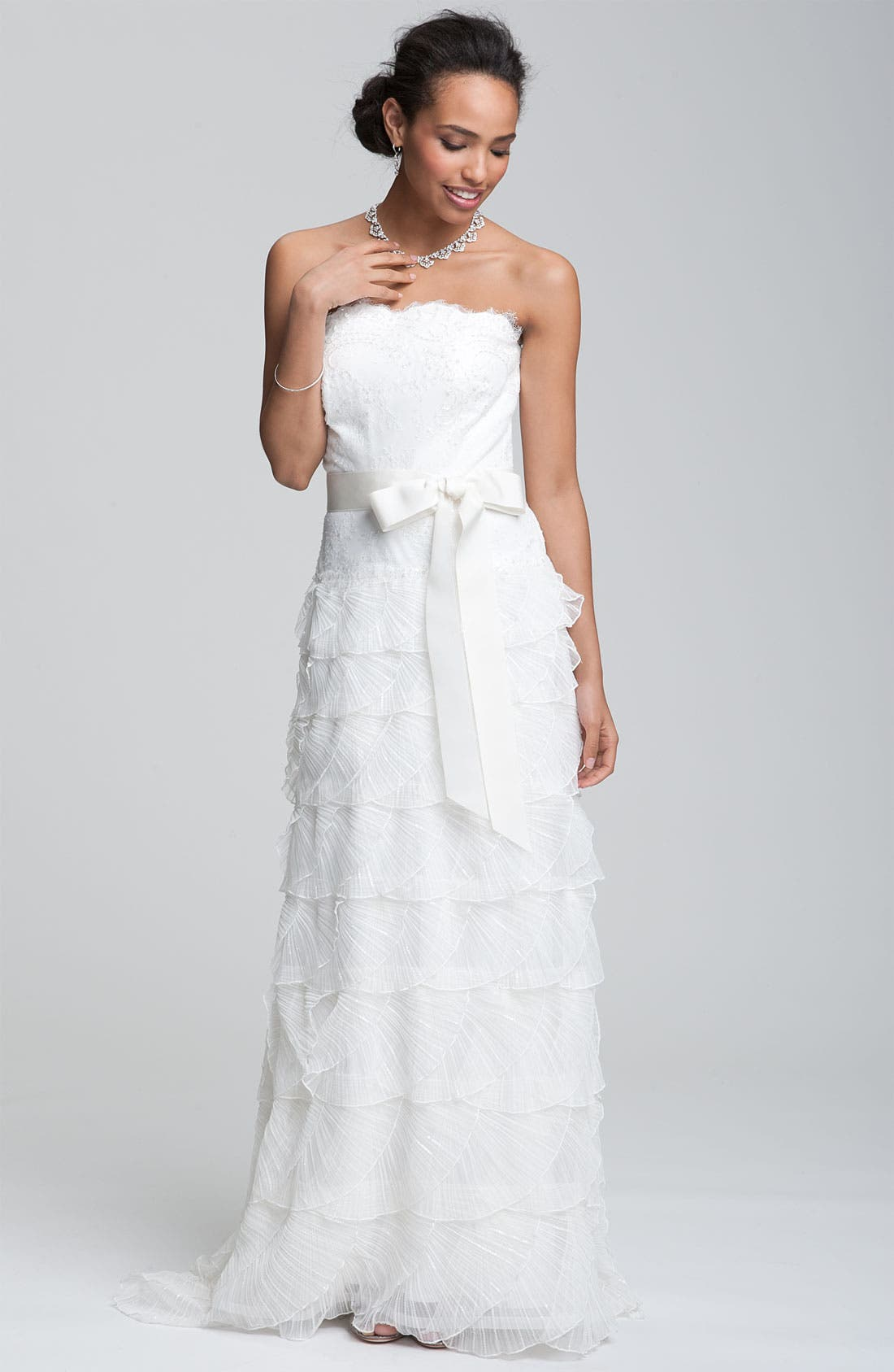 Alternate Image 3  - Tadashi Shoji Strapless Lace Gown