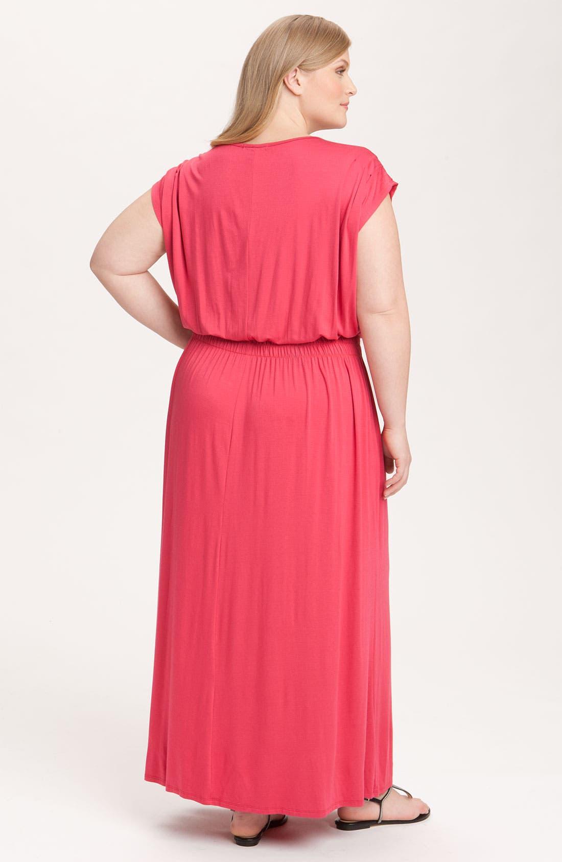 Alternate Image 2  - Olivia Moon V-Neck Knit Maxi Dress (Plus)