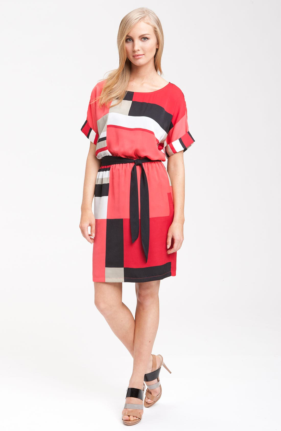 Alternate Image 4  - DKNYC Short Sleeve Geometric Print Dress
