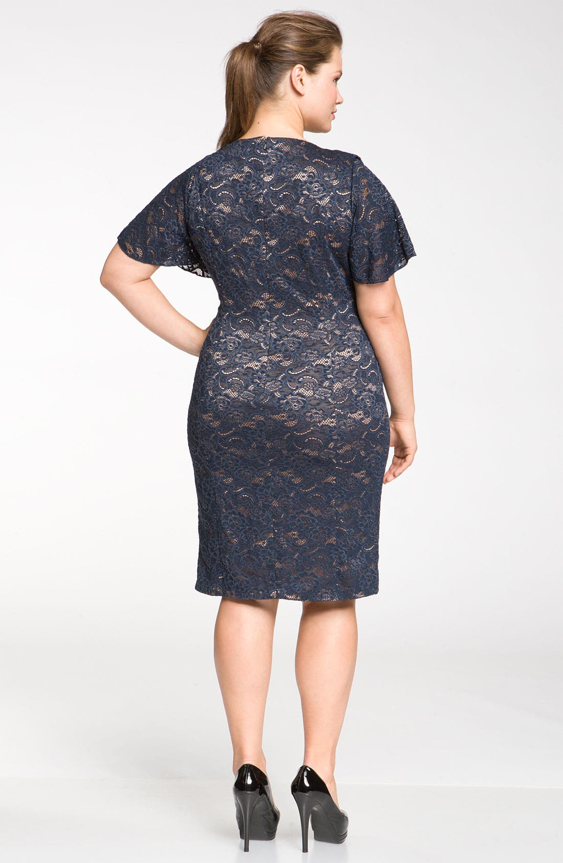 Alternate Image 2  - JS Collections Drape Neck Lace Sheath Dress (Plus)