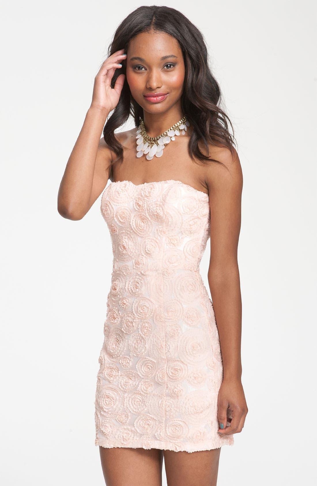 Main Image - Lush Rosette Strapless Dress (Juniors)