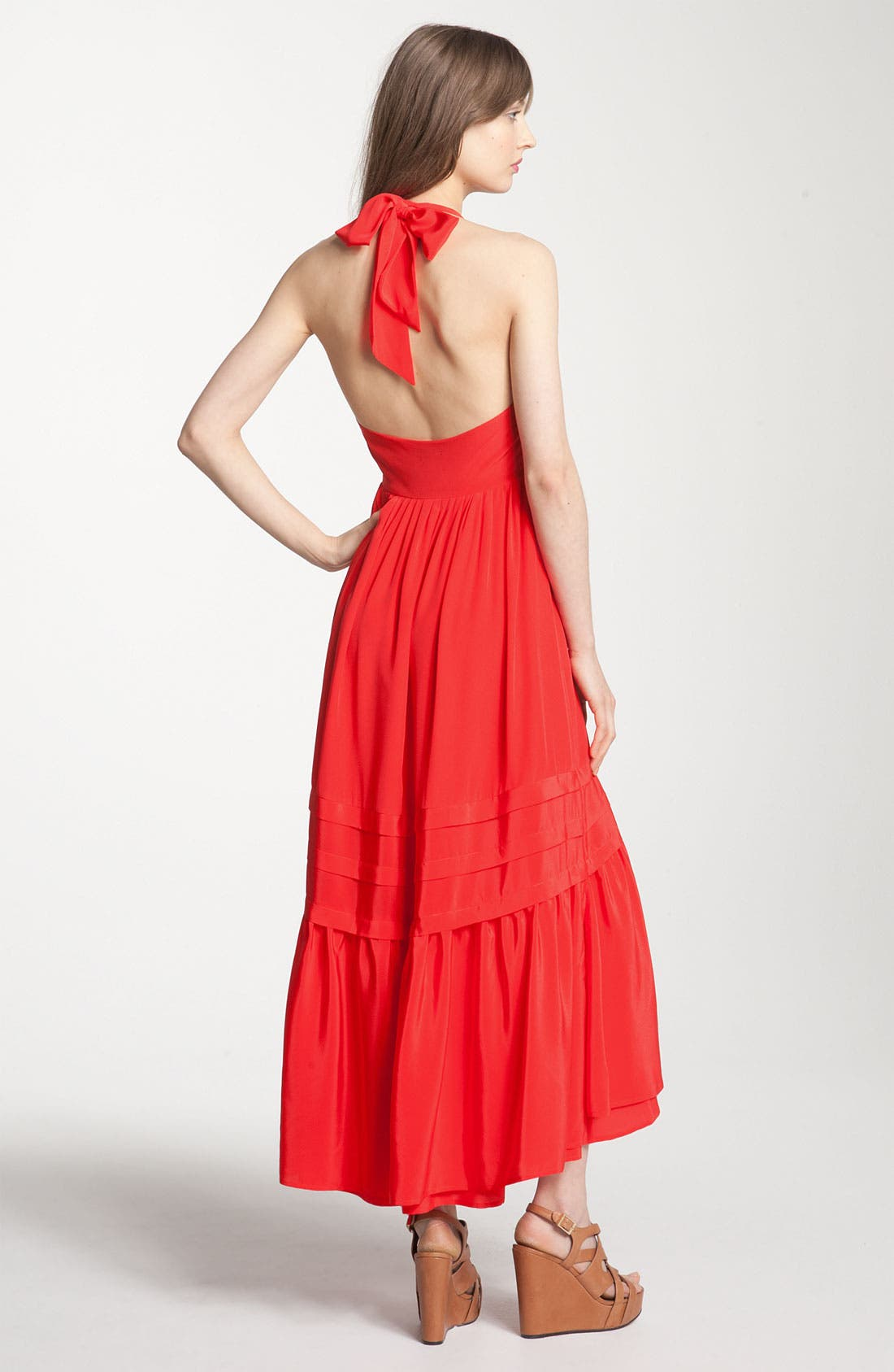 Alternate Image 2  - Juicy Couture Asymmetrical Ruffle Silk Maxi Halter Dress