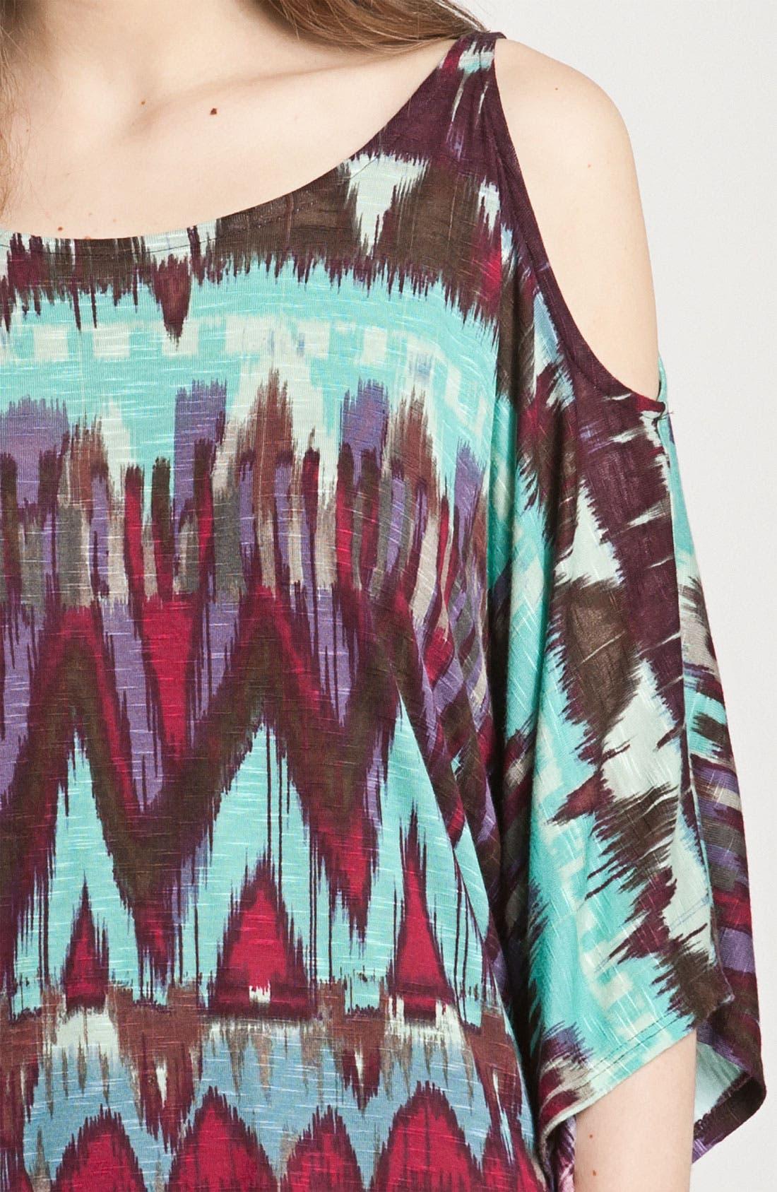 Alternate Image 3  - Ella Moss Slouchy Print Cold Shoulder Top