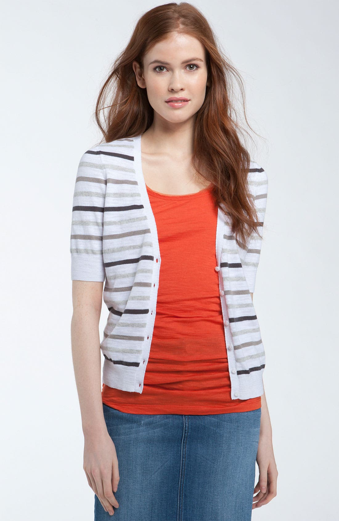 Main Image - Caslon® V-Neck Elbow Sleeve Cardigan (Regular & Petite)