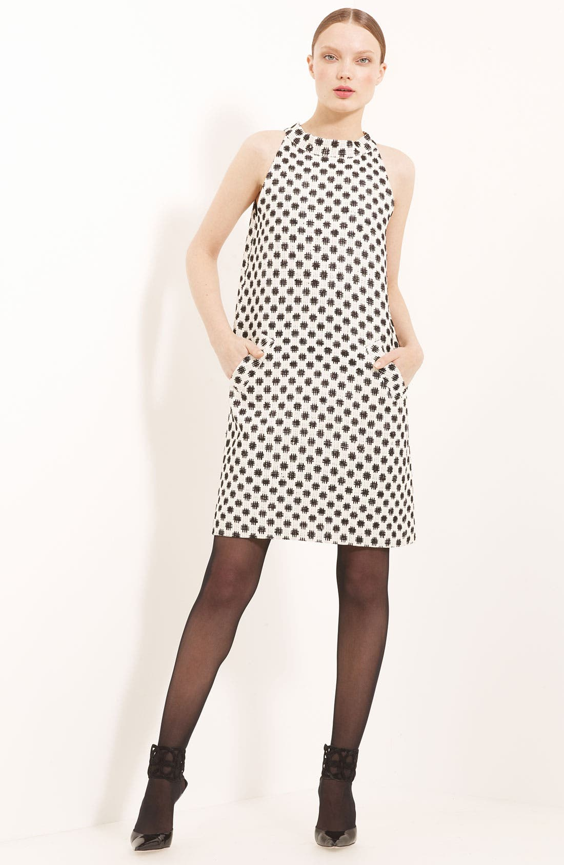 Main Image - Oscar de la Renta Trapeze Silk Tweed Dress