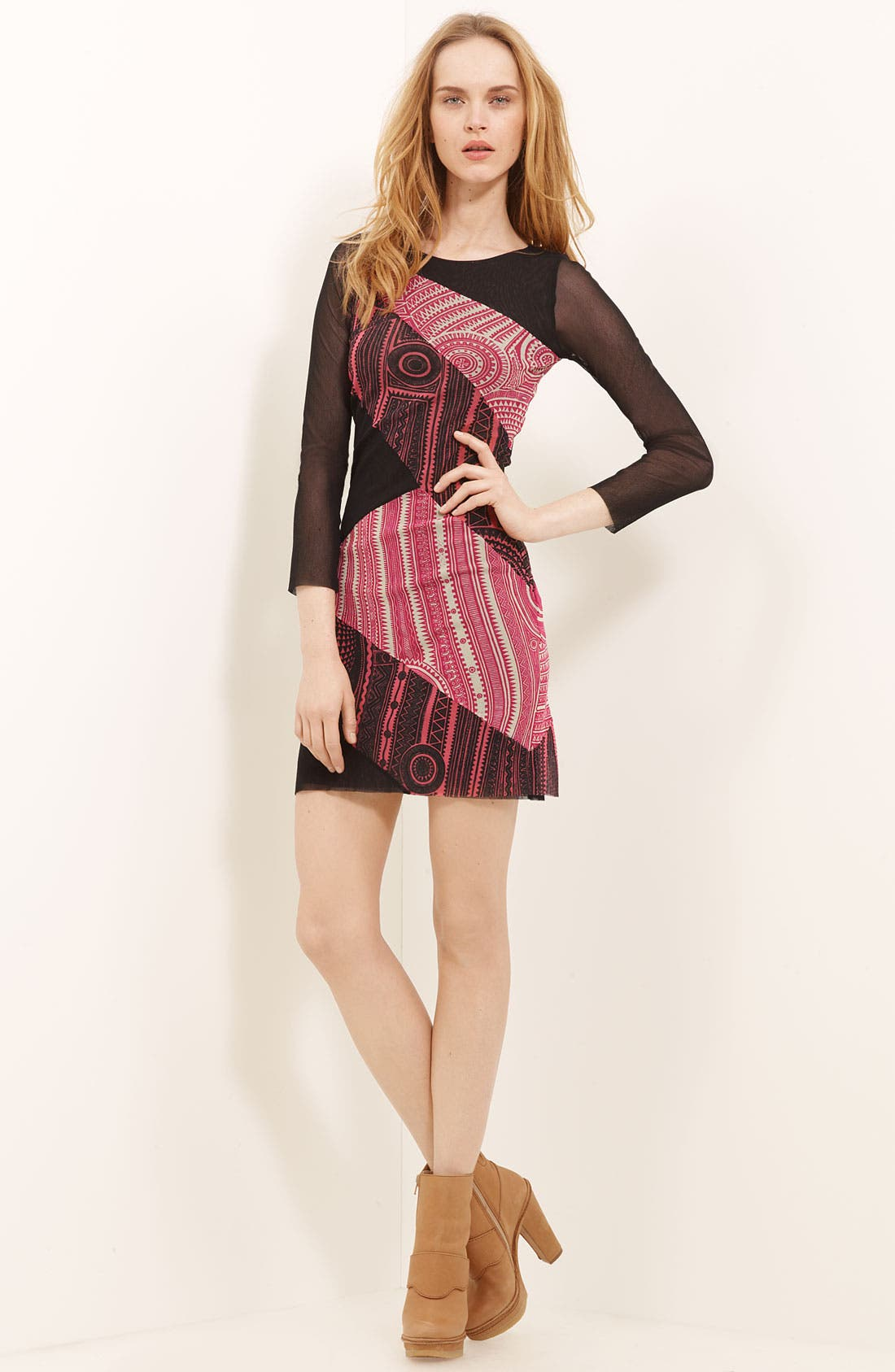 Alternate Image 1 Selected - Jean Paul Gaultier Fuzzi Patchwork Print Minidress