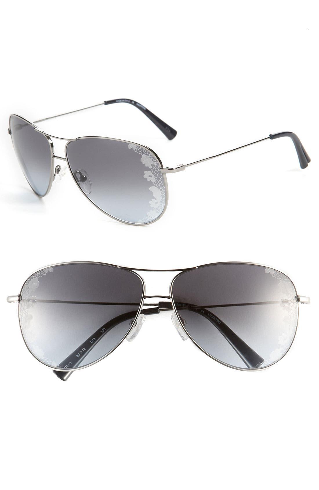 Main Image - Valentino 60mm Aviator Sunglasses