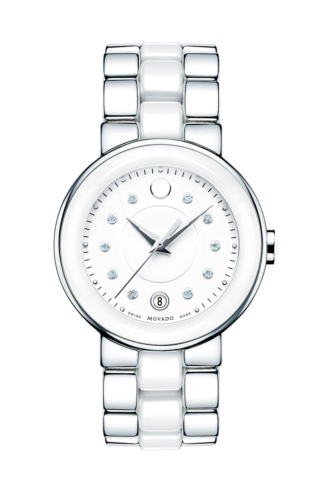 Main Image - Movado 'Cerena' Diamond Dial Ceramic & Steel Watch, 34mm