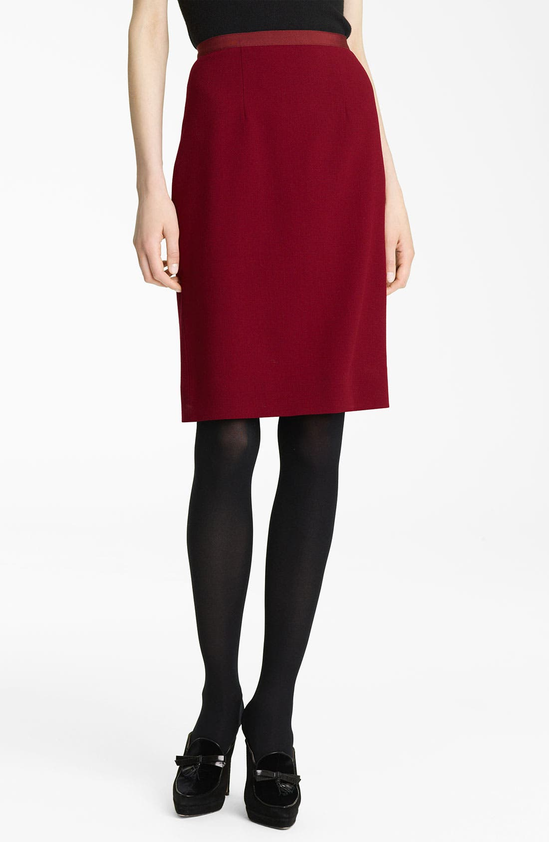 Alternate Image 1 Selected - Oscar de la Renta Slim Wool Crepe Skirt