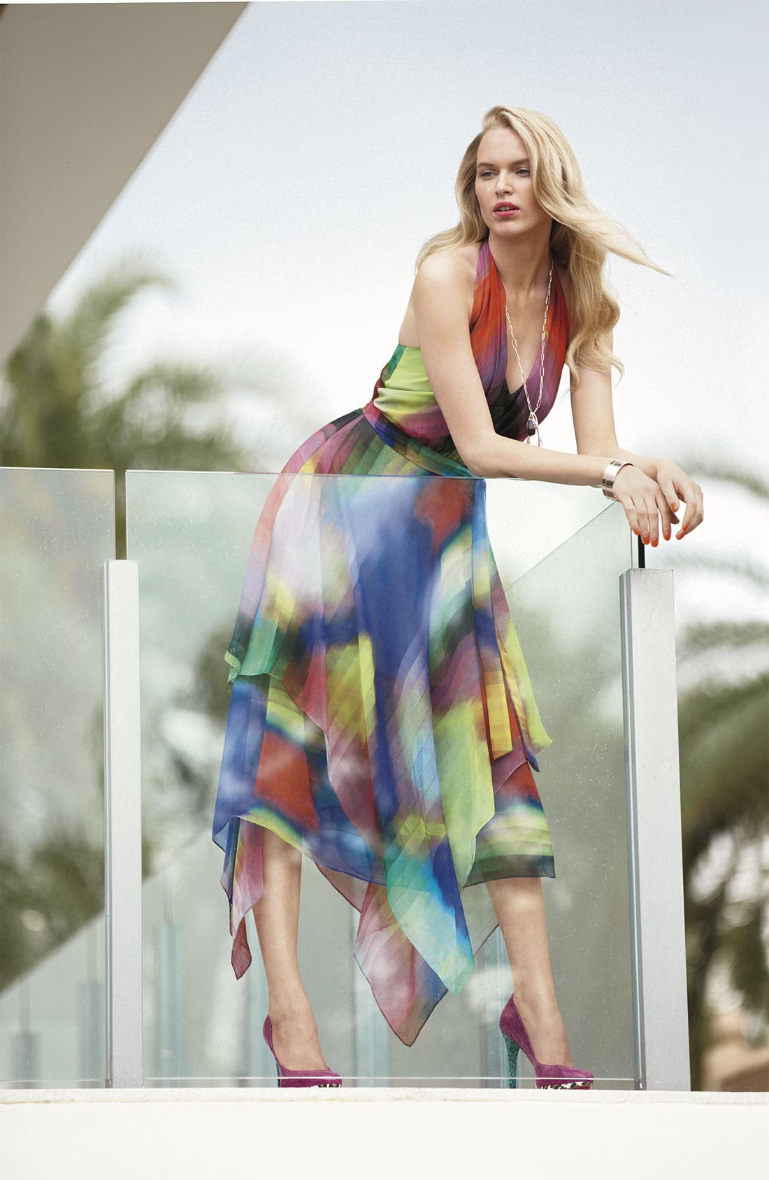 Alternate Image 4  - Suzi Chin for Maggy Boutique Print Halter Dress