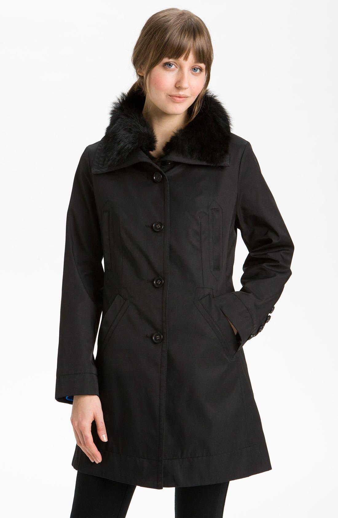 Main Image - Hilary Radley Detachable Fur Collar Raincoat