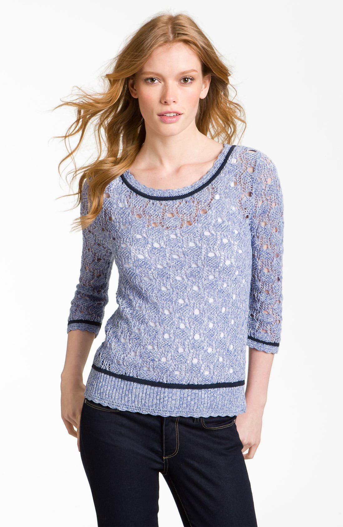 Main Image - Hinge® Preppy Pointelle Sweater
